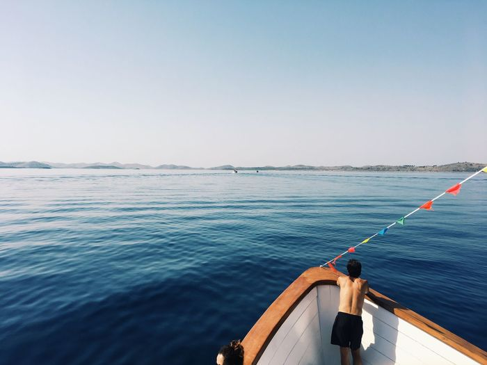 Sea Water Horizon Over Water Nature Clear Sky Outdoors Day Scenics Men Sky Nautical Vessel Beauty In Nature One Person Fishing Pole People The Week On EyeEm