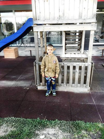 Childhood Child Children Only Full Length Boys One Boy Only One Person Casual Clothing Playing Looking At Camera Smiling Cute Outdoors Males  People Standing Blond Hair Day Portrait
