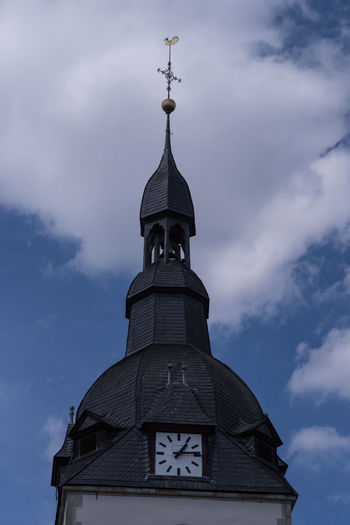 MArktkirche Architecture Building Exterior Built Structure Clock Clock Tower Cloud - Sky Clouds And Sky Day Low Angle View No People Outdoors Place Of Worship Plants And Flowers Religion Sky Spirituality