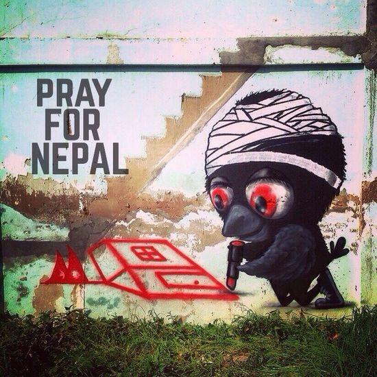 Pray for Nepal. PrayforNepal Muebon Spraypaint Thailand Enjoying Life Wall Birds Graffiti Street Art Art