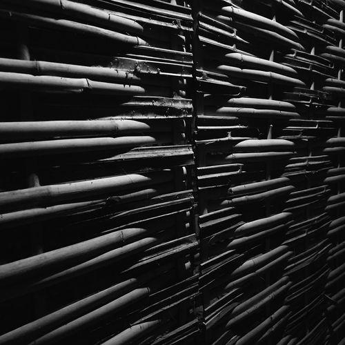 Full frame shot of bamboo stack