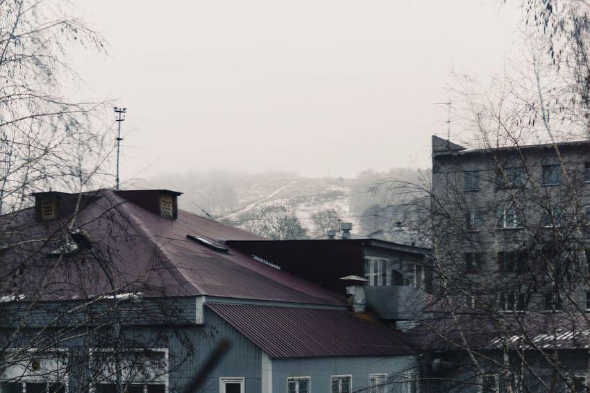 Buildings Roofs Snowy Foggy Hill Winter Novokuznetsk Kuzbass Siberia Russia
