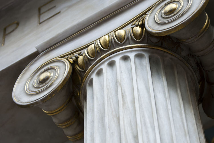 Low angle view of ionic columns