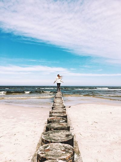 Mermaid Symmetry Girl Beach Sea Water Land Sky One Person Beauty In Nature Horizon Over Water Horizon Tranquil Scene Vacations Outdoors Tranquility The Great Outdoors - 2018 EyeEm Awards The Great Outdoors - 2018 EyeEm Awards The Traveler - 2018 EyeEm Awards