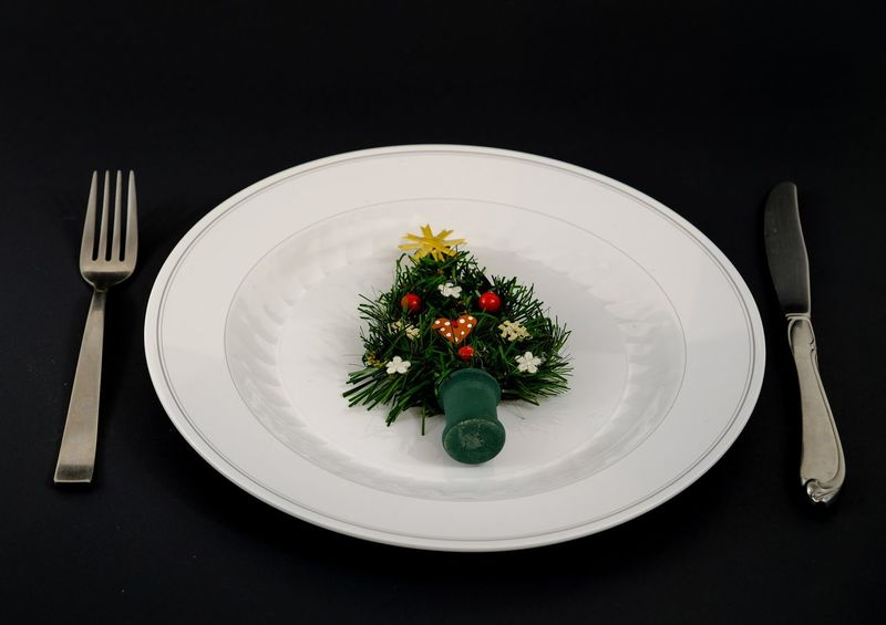 Christmas tree on a dinner plate. Christmas Diet Dinner Eating Tree Black Background Close-up Fastfood Festive Fine Dining Food Food And Drink Fork Forrest Freshness Healthy Eating Indoors  No People Party Place Setting Plate Ready-to-eat Saving Table