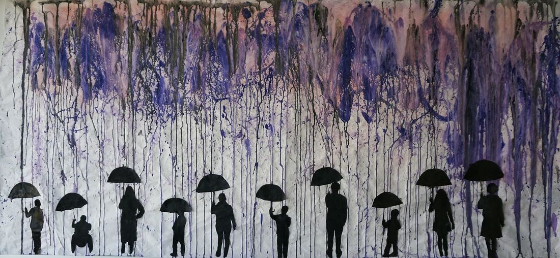 Backgrounds Hand Made Cardboard Background Made By Kids School Wall Decoration Mural Mural Art Cardboard Design Rain Silhouettes Kids Art Purple Rain