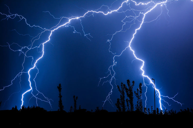 Urban Street Lightning Beauty In Nature Danger Dramatic Sky Electricity  Extreme Weather Forked Lightning Illuminated Landscape Lightning Low Angle View Nature Night No People Outdoors Power In Nature Scenics Sky Storm Storm Cloud Thunderstorm Tree Weather