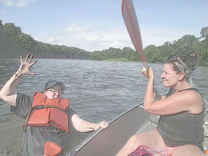 Glitch Don't pick on your sister......she may get the upper hand one day . Canoe Trip Summer 2015