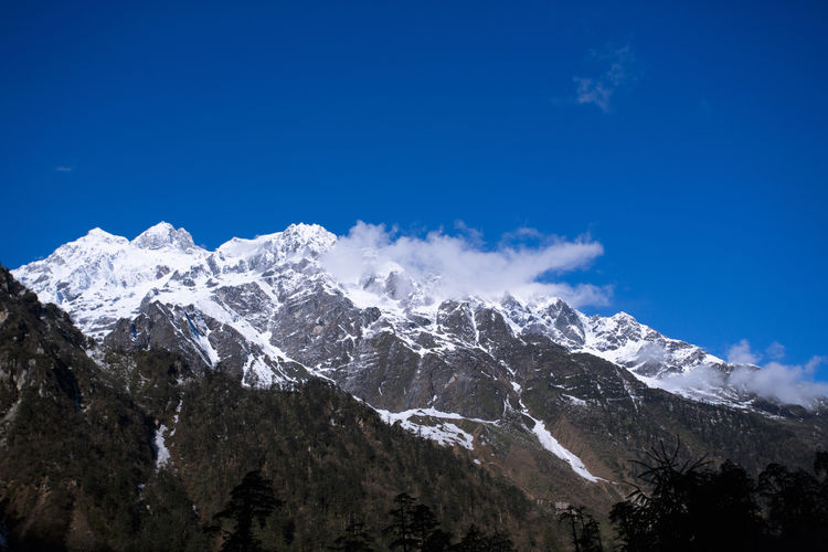 Snow mountain in Sikkim, Gangtok, India Beauty In Nature Blue Blue Sky Clear Sky Cloud Cold Cold Temperature Day Forest India Landscape Mountain Mountain Peak Mountain Range Nature No People Outdoors Pinaceae Scenics Sikkim Sky Snow Snowcapped Mountain Travel Winter