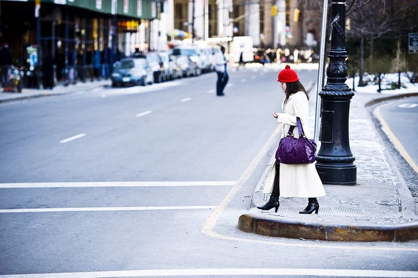 I Heart New York in winter time, a perfect time to enjoy this city! This woman is on her way to work, I think. Loved her red cap, thats why I took this shot. Wall Street  People Watching EyeEm Best Shots Eye4photography  Streetphotography Zerofotografie.nl Nikon OpenEdit EyeEmBestPics