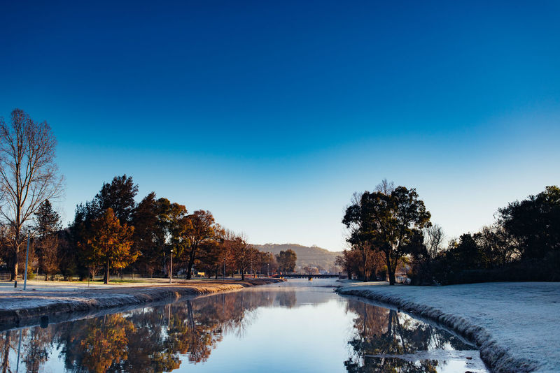 Morning Weather Beauty In Nature Blue Cold Temperature Copy Space Freezing Australia Freezing Nsw Lake Nature No People Non-urban Scene Outdoors Plant Reflection Scenics - Nature Sky Snow Tranquil Scene Tranquility Tree Water Winter