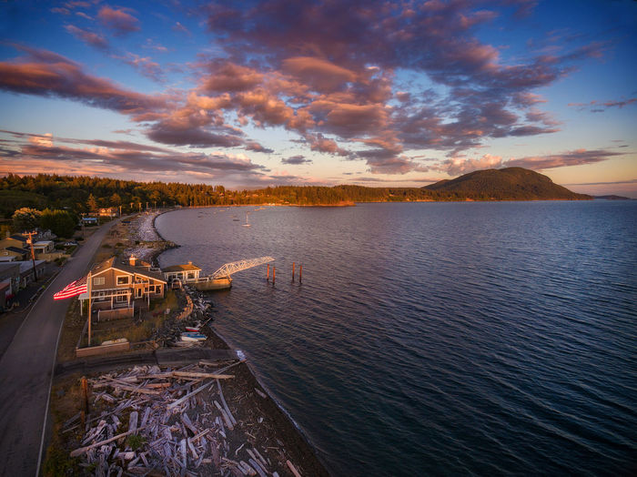 Lummi Island Sunset on Legoe Bay. Located in the Salish Sea area of Puget Sound in the Pacific Northwest. Drone  Lummi Island Pacific Northwest  Puget Sound Salish Sea Sunset_collection Washington Aerial View Beauty In Nature Cloud - Sky Dji Phantom Landscape Mountain Nature No People Ocean Outdoors San Juan Islands Scenics - Nature Sea Sky Sunset Tranquility Water Waterfront