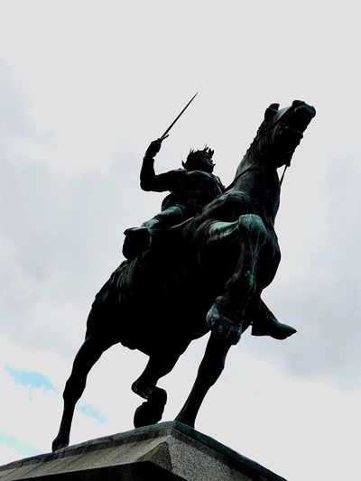 Statue of man on horse. Visit any capital in Europe and you will find one Statue Sculpture Low Angle View Art Art And Craft Horse Creativity Sky Day Monument Cloud - Sky History Outdoors No People IPhoneography