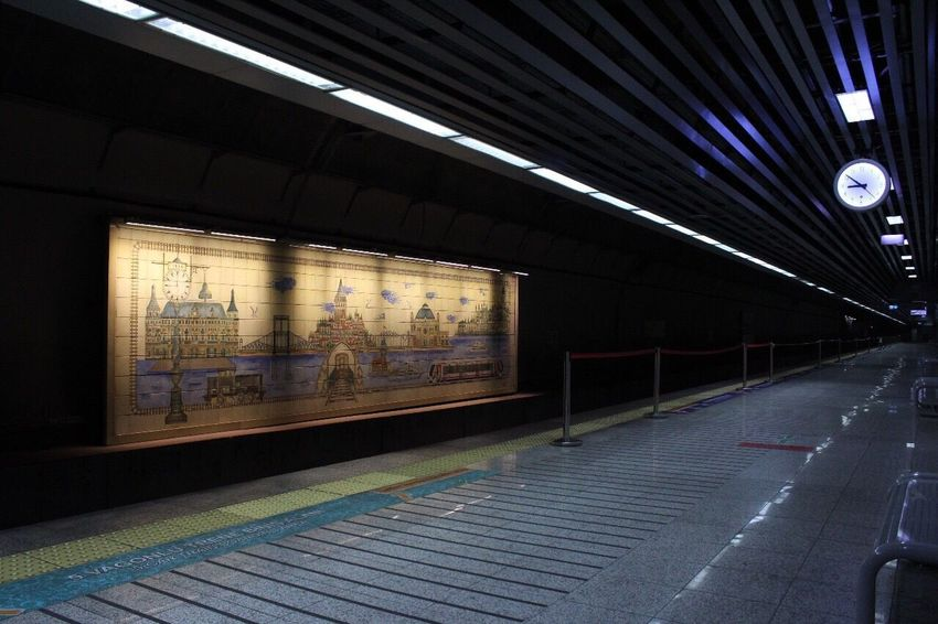 Istanbul Marmaray Sirkeci Subway Station Transportation No People Indoors  Architecture Illuminated Built Structure Metro Peron Perspective Perspektif Time Zaman Vakit Saat Duvar çini Seramik Pano Wall Watch Clock Ceramics The Graphic City