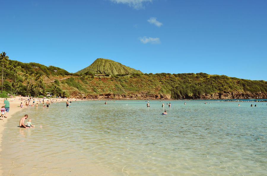 Beach Beauty In Nature Blue Clear Sky Day Hanauma Bay Hawaii Mountain Nature Oahu Outdoors Scenics Sea Sky Summer Swimming Tranquil Scene Tranquility Vacations Water Waterfront