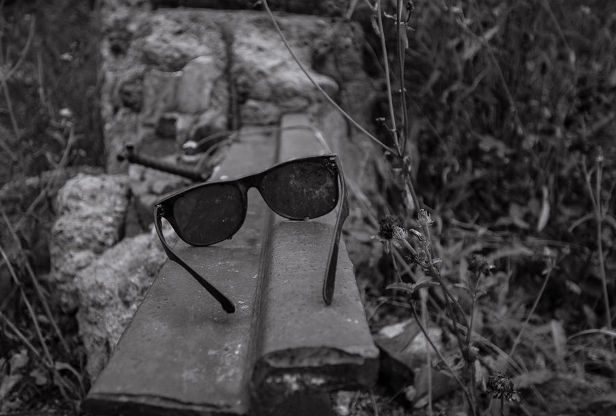 Forgotten Abandoned Blackandwhite Close-up Cool Day Eyewear High Angle View Monochrome Nature No People Old Outdoors Sunglass  Sunglasses Water