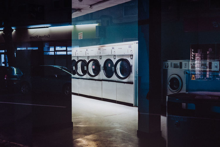 Laundry Absence Appliance Automatic Clean Cleaning Convenience Dryer  Flooring Household Equipment Hygiene Illuminated Indoors  Laundromat Laundromats Laundry Machinery Modern No People Self Service Technology Tile Vending Machine Washing Washing Machine