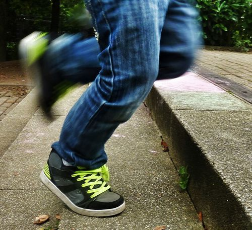 Running Need For Speed Running Running Stairs Running Boy Cropped Cropped Legs Focus On Shoe Sportshoes Jeans Stairs Up Upstairs Fast Fast Motion Sport EyeEm Gallery Close-up Up Close Up Close Street Photography Selective Focus
