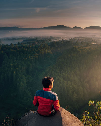 Rear view of man looking at mountains while sitting on rock