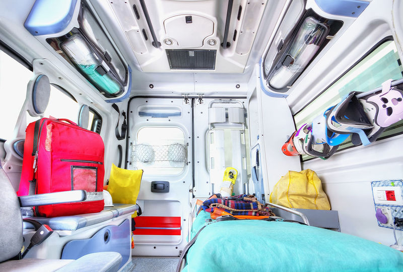 Interior of an ambulance Ambulance Blood Crash Defibrillator Doctor  Emergency Emergencyroom EMS Firefighter Flaslight Heart Attack Hospital Ictus Incident Injury Interior Nurse Paramedic RCP Red Cross Rescue Resuscitation Strechers Transportation Vehicle Interior