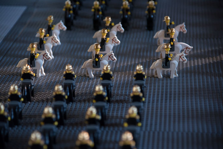 Army Close-up Day Figurine  High Angle View Horse Horserider Horseriding Horses In A Row No People Outdoors Parade Riding Soldier Toy Toys Uniform Figurine  Tilt-shift