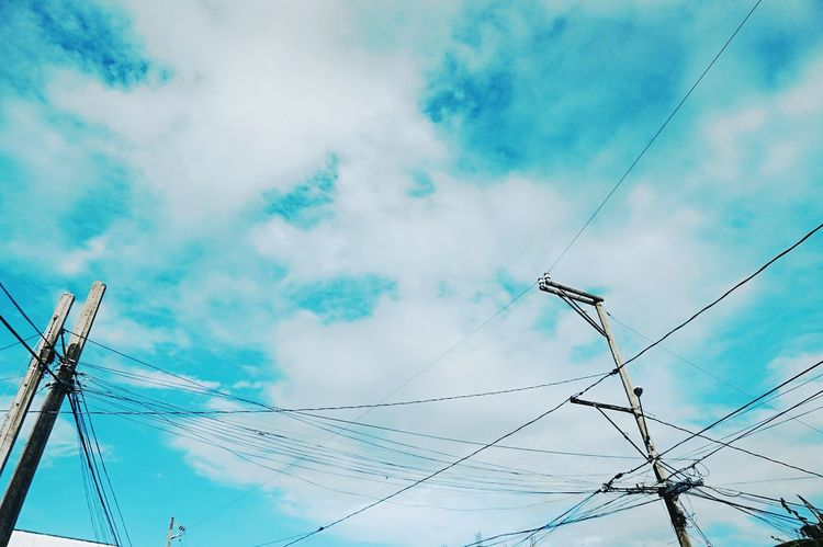 Powerlines Powerline Lines And Lights Sky And Clouds Blue Sky Sky Clouds Clouds And Sky Parallel Lines Looking Up Look Up Power Lines Powerlines Post Above And Beyond From Below Eyeem Photography Eyeem Philippines The Week On EyeEm The Sky Above Summer Season Sunny Day Summer Vibes