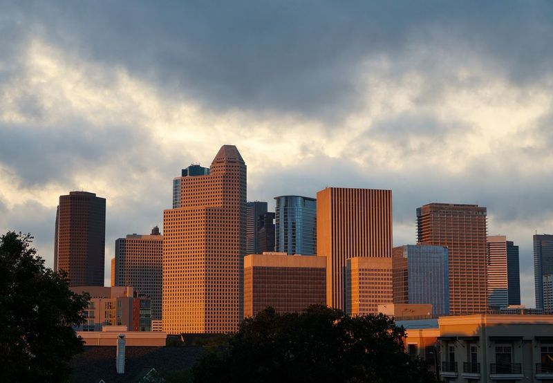 Architecture Skyscraper Sky Building Exterior City Cloud - Sky Modern Built Structure Cityscape No People Outdoors Sunset Urban Skyline Day Nature After the storm Houston Tropical Storm Hurricane Harvey Clearing Storm Weather Cityscape Dramatic Sky City Clouds