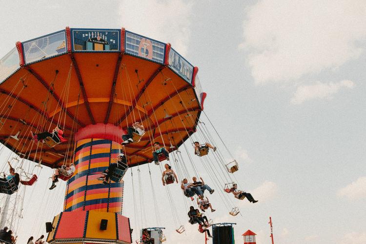 Amusement Park Amusement Park Ride Architecture Chain Swing Ride Chicago Low Angle View Navypier Navypierchicago