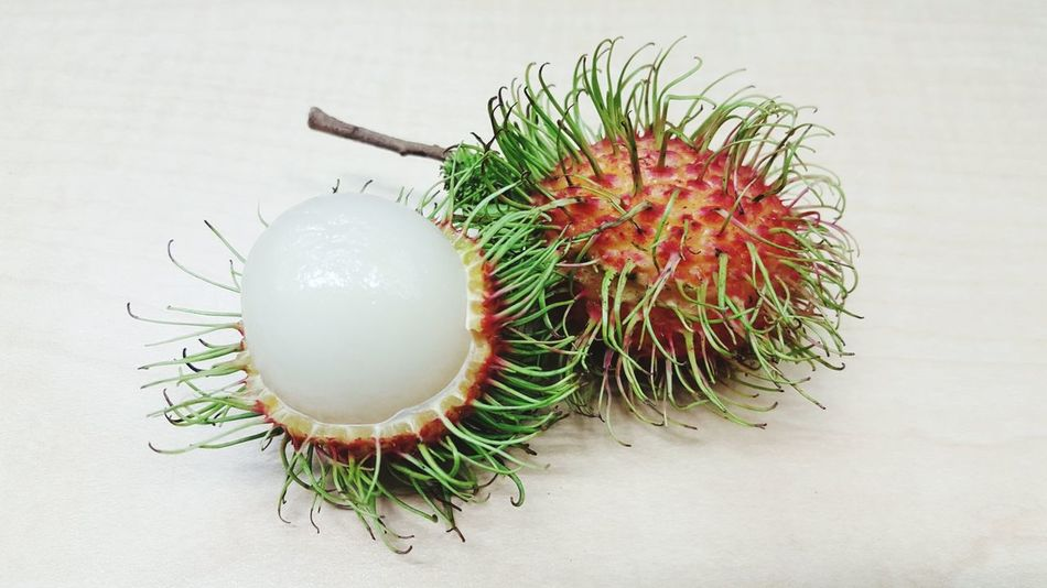 Rambutans Eat Thai Fruits Thai Fruit Fruit Food Indoors  No People Food And Drink Still Life Close-up White Background Nature