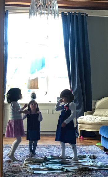 Indoors  Girls Curtain Standing Childhood Real People Togetherness Child People Playing Play Fun Having Fun Movement
