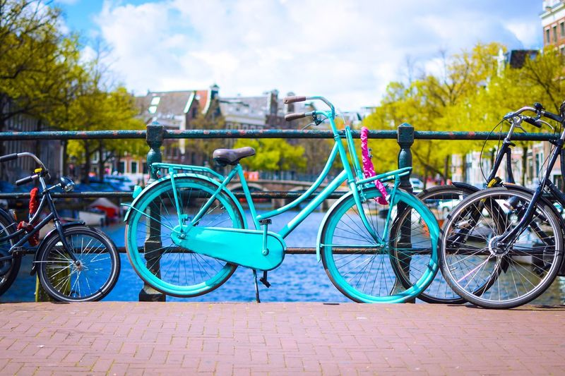 Amsterdam bicycle Bicycle Transportation Mode Of Transport Stationary Outdoors Day Land Vehicle Blue Sky No People Bicycle Rack First Eyeem Photo EyeEm Best Shots Amsterdam