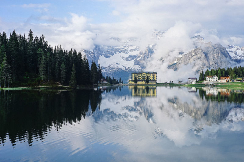Lake Misurina, Italy Reflection Water Beauty In Nature Lake Scenics - Nature Cloud - Sky Mountain Sky Waterfront Tranquility Tranquil Scene Nature Tree Day No People Plant Idyllic Cold Temperature Outdoors Snowcapped Mountain Reflection Lake Italy Landscape_Collection Landscape_photography
