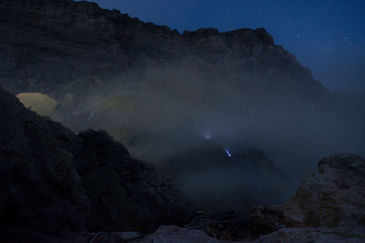 Blue fire in the ijen crater