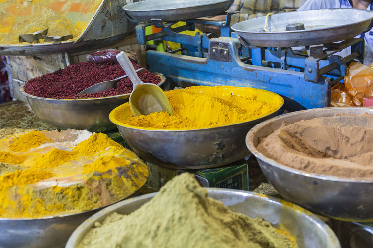 Yellow food for sale at market stall