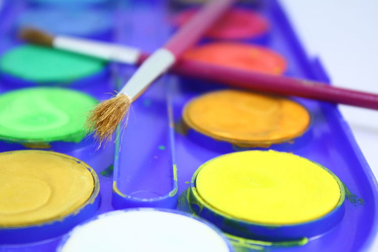 Color Pallete Different Colors Acquarells Art And Colors Close-up Day Hobbies And Passion Hobbys Indoors  Multi Colored No People Paintbrush Paintbrushes Palette Two Paintbrushes Water Colors