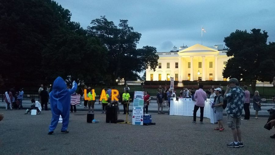 Protest outside the White House in Washington, DC. Evening Night Monday White House White House Washington DC Washington, D. C. Protest Protesters Left Shark America American Rights Constitution Freedom People City Tree Politics And Government Men Sky Architecture Patriotism