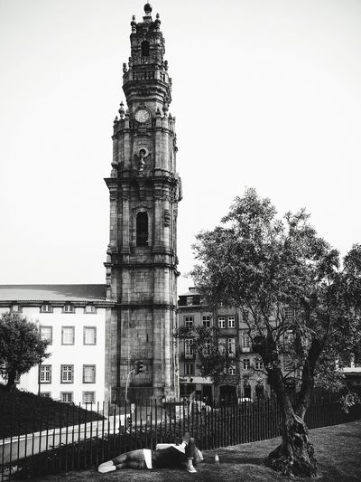 Adapted To The City Architecture Building Exterior Built Structure Tree Outdoors Clear Sky Transportation City Sky Travel Destinations Day Land Vehicle No People Streetphotography Monochrome Blackandwhite Candid Mirrorless Olympus Portugal Oporto Belltower