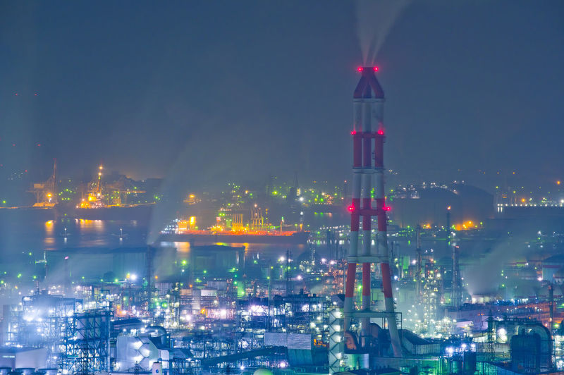Illuminated Night Building Exterior Architecture Built Structure Industry Sky Factory City No People Fuel And Power Generation Smoke Stack Nature Pollution Outdoors Smoke - Physical Structure Environmental Issues Environment Water Cityscape Air Pollution Complexity Oil Industry Industry Harbor Okayama Kurashiki Japan Pentax Japan Photography Night Lights Nightphotography