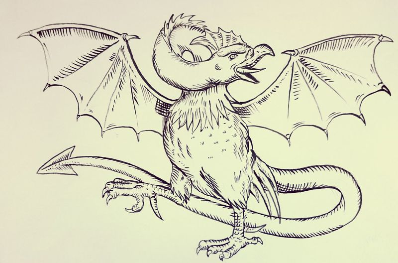 Basilisk drawing Original Artwork Art, Drawing, Creativity Etching Mythology rooster Chicken bat wing reptile Birdfreaks bird