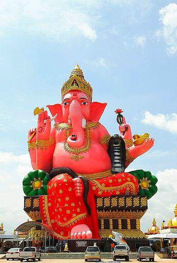 Thailand Buddhism Idol Statve Philanthropy Ganesha Outdoors Day Big-idol Sky BIG Red Color Showcase July