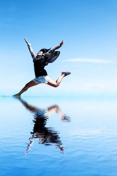 Water Sea Mid-air Horizon Over Water Sky Jumping One Person Scenics Lifestyles Day Men Full Length Nature Outdoors Beauty In Nature Real People