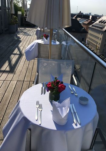 Laid Table Breakfast Eating Out Restaurant Table Hotel Breakfast Breakfast In The Sun Table Flower Food And Drink Sunlight High Angle View