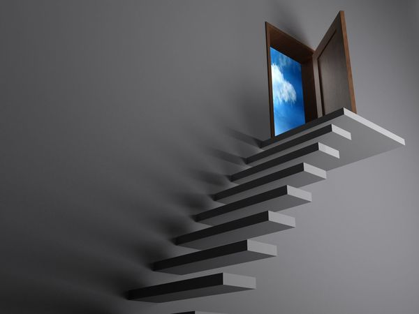 Stairs to freedom - 3D rendering 3D Freedom Stairs Steps Target Climbing Concept Difficult Door Possible Psychology Rendering Sky Success White White Color