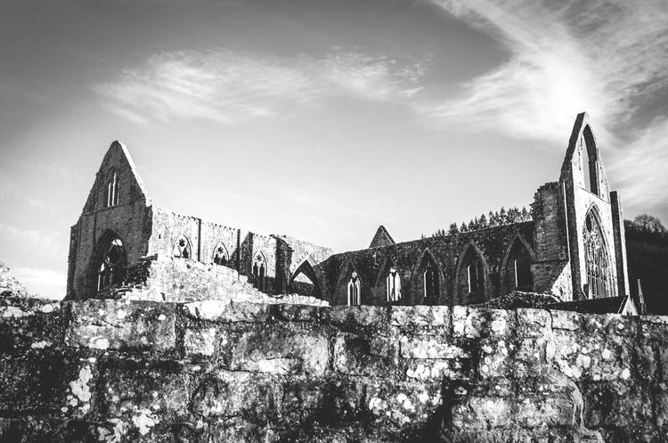 Tintern Abbey Ruins Architecture Ruins Abbey Church Medieval Architecture Medieval Wales Monastery Stone Wall Walll Architecture Religion History No People Sky Clouds Black And White Monochrome Welsh Monmouthshire Sights On River Wye Uk Travel Building Exterior