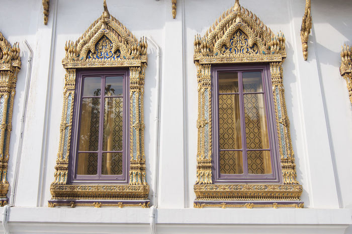 temple window in Wat Pho ,Bangkok Architectural Feature Architecture Building Exterior Built Structure Church Day Façade Low Angle View No People Ornate Outdoors Place Of Worship Religion Sky Spirituality Temple Window Window