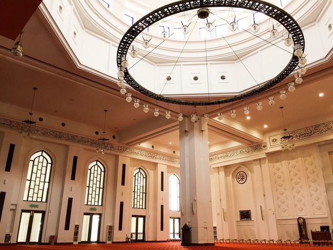 Interior design of a mosque Canon Cityscape Landscape Dua Religion Islamic Design Building Red Carpet Prophet MUHAMMAD Allah Quran Mosque Peace Prayer Muslim Islam Knowledge Masjid Indoors  Architecture Ceiling Built Structure Low Angle View Ornate Architectural Column