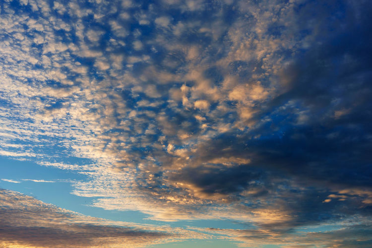 Cloud - Sky Sky Beauty In Nature No People Nature Outdoors Sunset Orange Color Tranquility Scenics - Nature Tranquil Scene Low Angle View Blue Backgrounds Full Frame Idyllic Dramatic Sky Day Cloudscape Meteorology