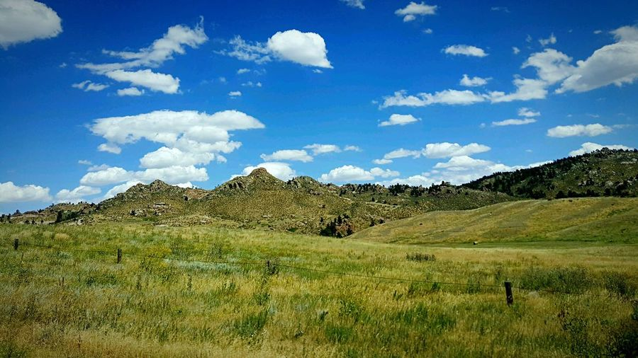Blue vs Green Amazing Nature Blue Sky And Clouds Taking Photos On A Hike Beauty Everywhere Wyoming USA Enjoying Life Rocky Hills Green Grassy Plains Colour Of Life
