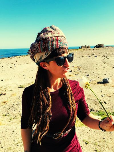 I will survive 🌷 Dreadlocks Portrait Of A Woman Bohemian Boho Portrait Dreads EyeEm Selects Land Beach Sea Real People Glasses Sunglasses Sunlight Nature International Women's Day 2019