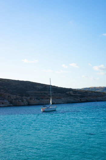 Beauty In Nature Comino Comino Island Malta Cominoisland Holiday Destination Mediterranean  Mediterranean Landscape Mediterranean Sea Nature Sailboat Sailing Sailing Ship Sea Sea View Seascape Seaside Seaside_collection Tranquility Travel Travel Destinations Vacations Water Yachting